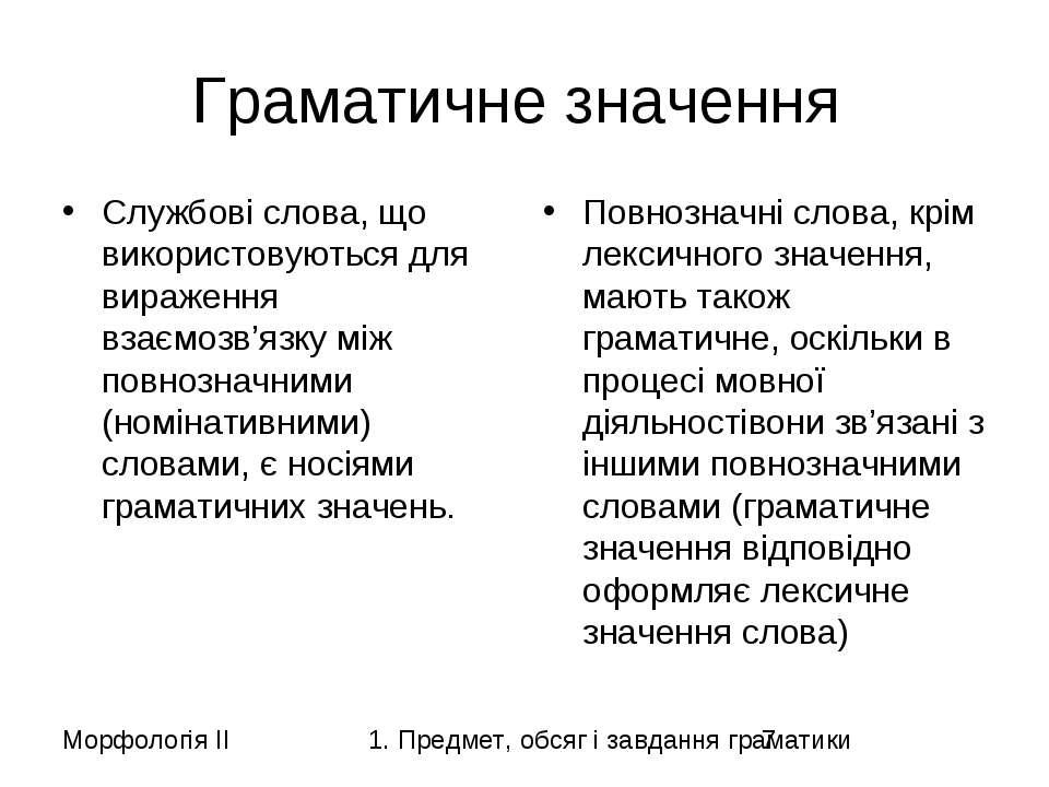 Граматичне значення Службові слова, що використовуються для вираження взаємоз...
