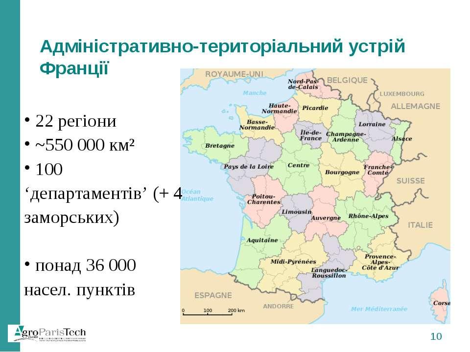 Адміністративно-територіальний устрій Франції 22 регіони ~550 000 км² 100 'де...