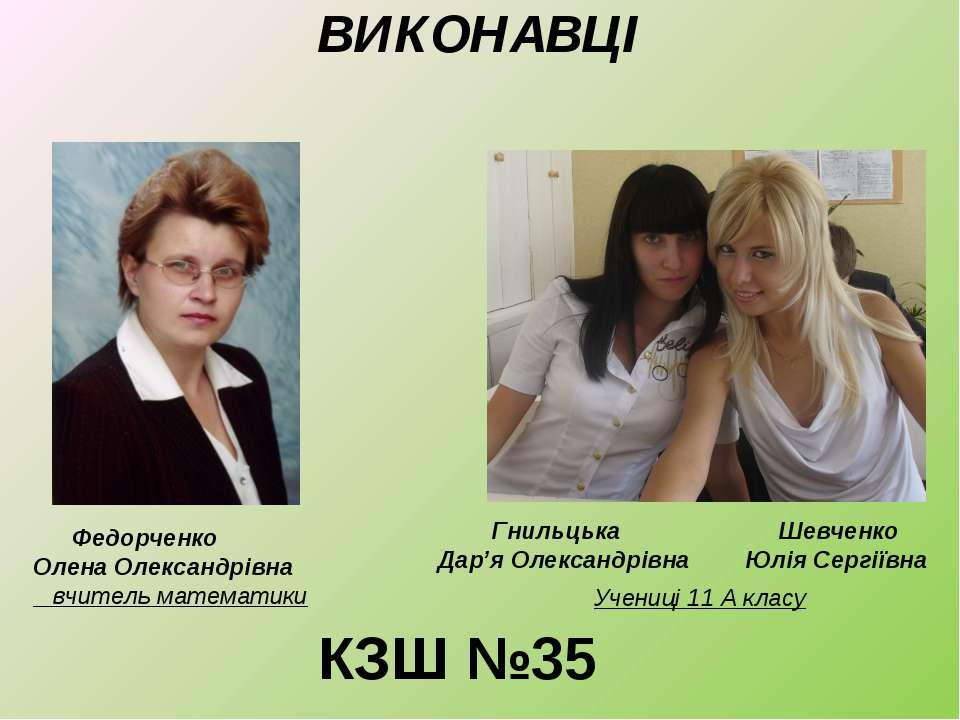 ВИКОНАВЦІ Федорченко Олена Олександрівна вчитель математики Гнильцька Дар'я О...