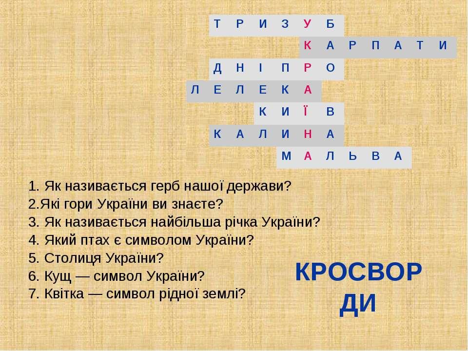 КРОСВОРДИ 1. Як називається герб нашої держави? 2.Які гори України ви знаєте?...