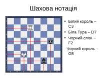 Шахова нотація Білий король –СЗ Біла Тура – D7 Чорний слон – F2 Чорний король...