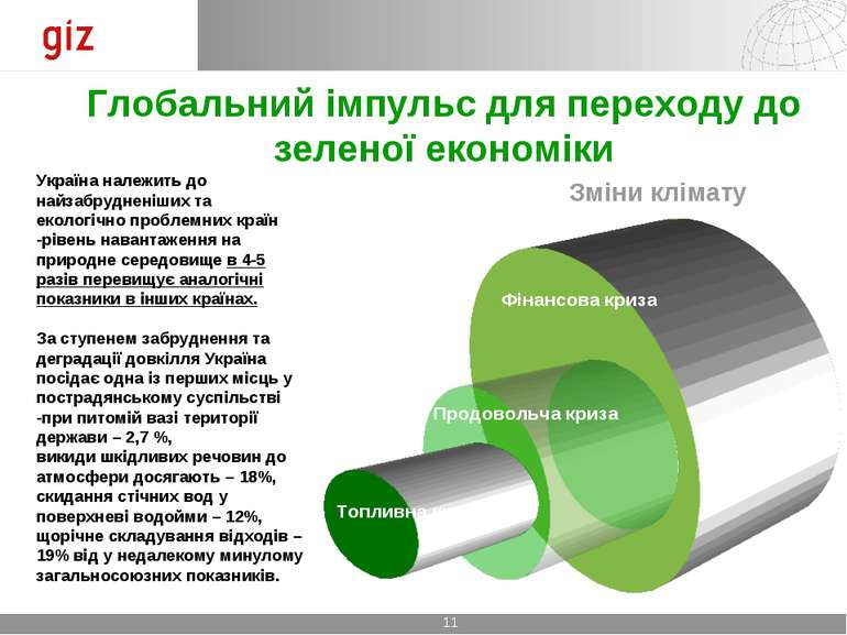 Глобальний імпульс для переходу до зеленої економіки Україна належить до найз...