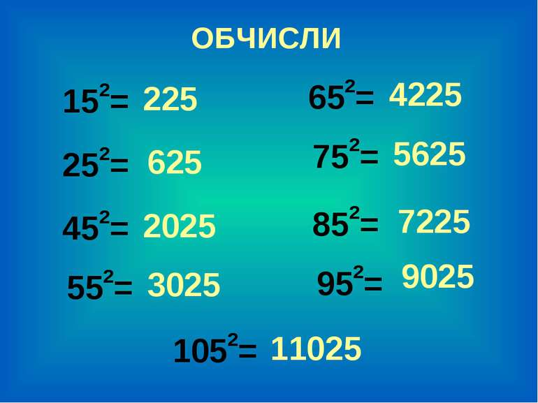 152= 652= 252= 752= 452= 852= 552= 952= 1052= ОБЧИСЛИ 225 625 2025 3025 9025 ...