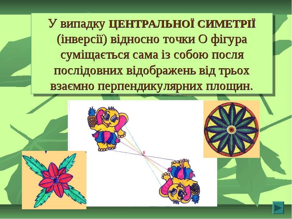 У випадку ЦЕНТРАЛЬНОЇ СИМЕТРІЇ (інверсії) відносно точки О фігура суміщається...
