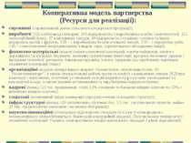 Кооперативна модель партнерства (Ресурси для реалізації): сировинні (гарантов...