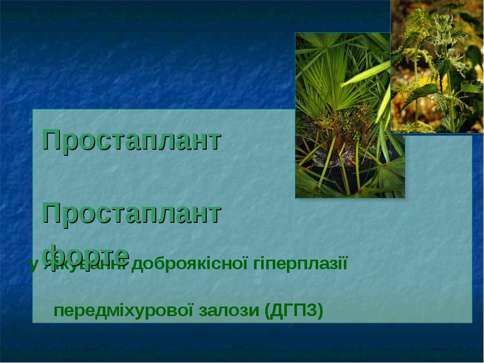 у лікуванні доброякісної гіперплазії передміхурової залози (ДГПЗ) Простаплант...