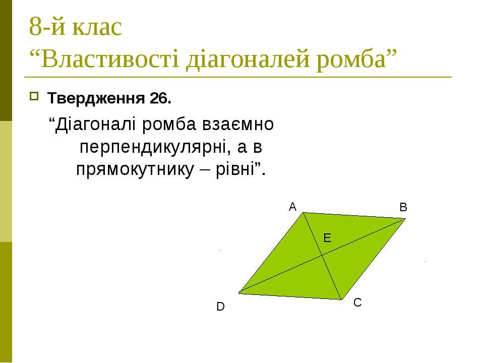 """8-й клас """"Властивості діагоналей ромба"""" Твердження 26. """"Діагоналі ромба взаєм..."""