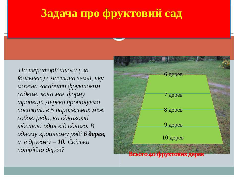 Задача про фруктовий сад На території школи ( за їдальнею) є частина землі, я...