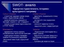 SWOT- аналіз Курортно-туристичного, історико-культурного напрямку