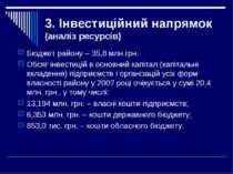 3. Інвестиційний напрямок (аналіз ресурсів) Бюджет району – 35,8 млн.грн. Обс...