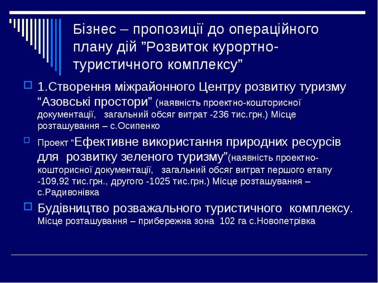 """Бізнес – пропозиції до операційного плану дій """"Розвиток курортно-туристичного..."""