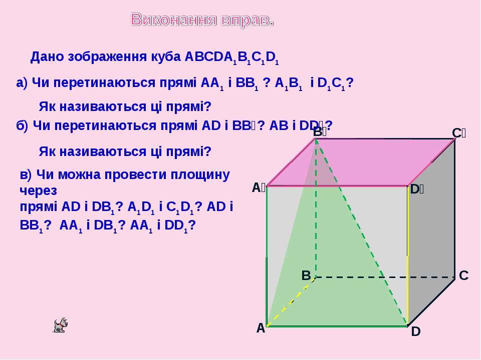 Дано зображення куба ABCDA1B1C1D1 A B D C A₁ B₁ C₁ D₁ а) Чи перетинаються пря...