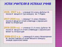 2006- 2007 н.р. - учениця 9-Б класу Дубельт М. посіла ІІ місце в ІІ турі конк...