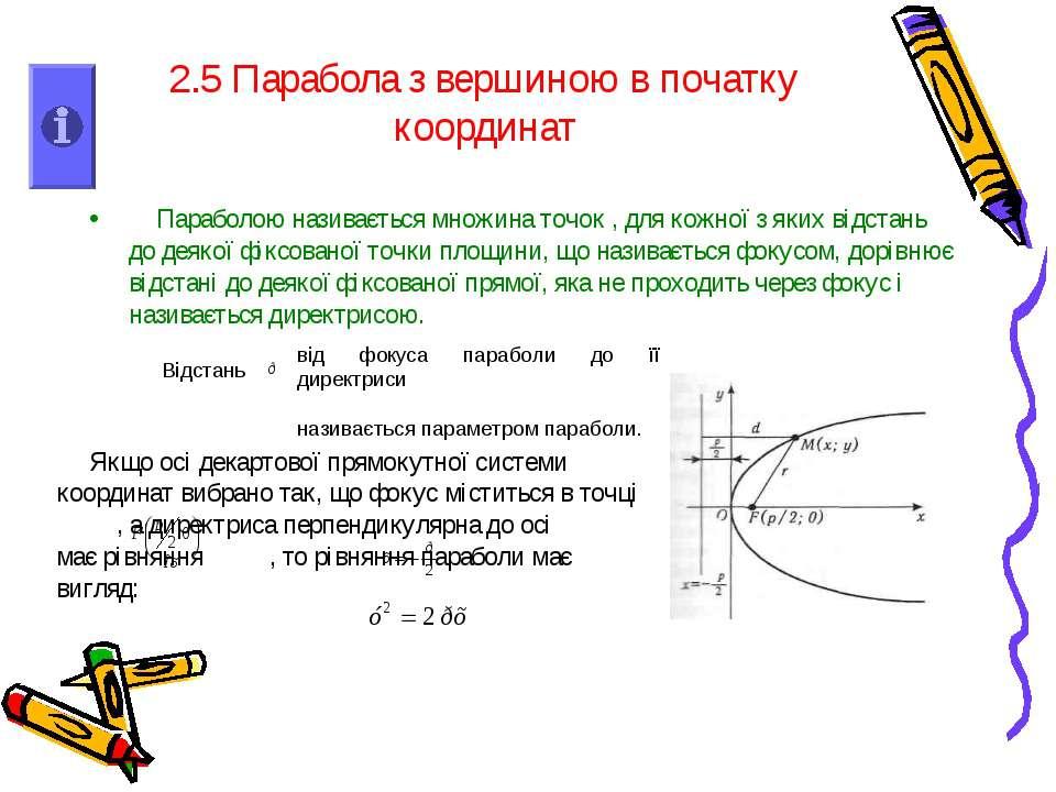 2.5 Парабола з вершиною в початку координат Параболою називається множина точ...