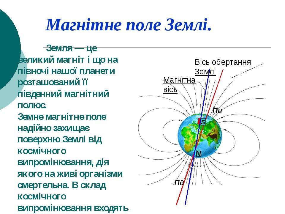 Магнітне поле Землі. Земля — це великий магніт і що на півночі нашої планети ...