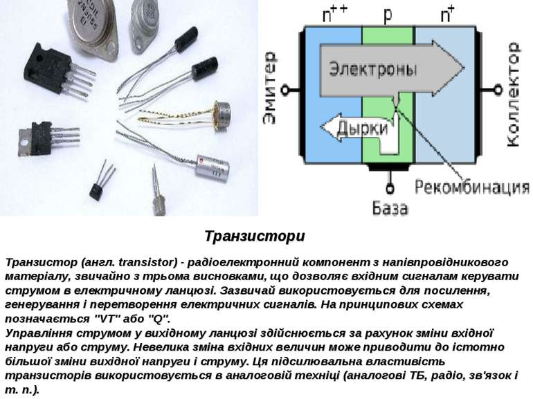 Транзистори Транзистор (англ. transistor) - радіоелектронний компонент з напі...