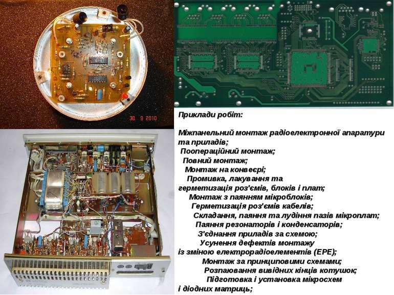 Прикладиробіт: Міжпанельниймонтажрадіоелектронноїапаратурита приладів; П...
