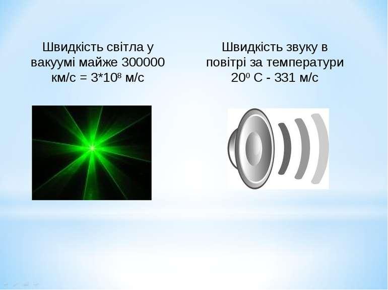 Швидкість звуку в повітрі за температури 200 С - 331 м/с Швидкість світла у в...