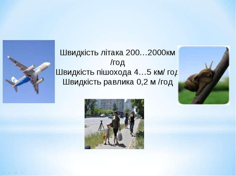 Швидкість літака 200…2000км /год Швидкість пішохода 4…5 км/ год Швидкість рав...