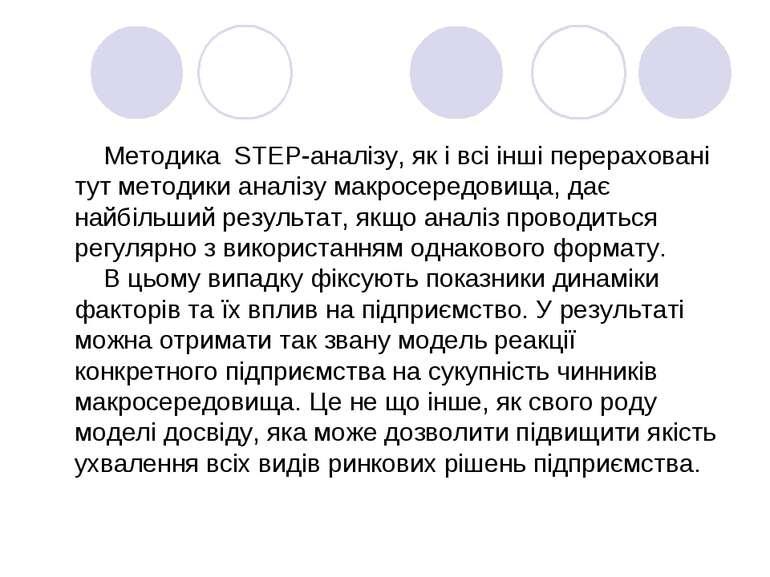 Методика STEP-аналізу, як і всі інші перераховані тут методики аналізу макрос...
