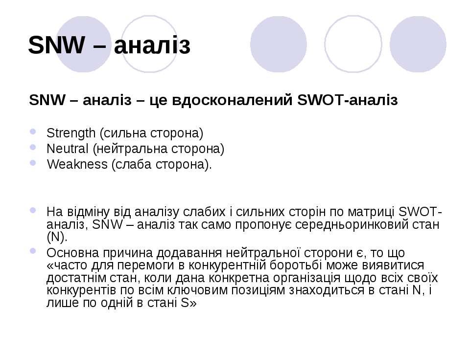 SNW – аналіз SNW – аналіз – це вдосконалений SWOT-аналіз Strength (сильна сто...