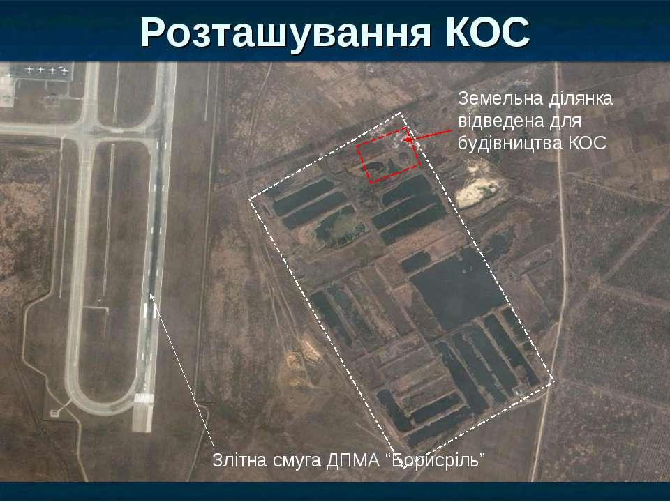 Розташування КОС Земельна ділянка відведена для будівництва КОС Злітна смуга ...