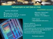 Лабораторія на чипі (lab-on chip) Розмір чипа - 4х4 см Одночасний аналіз до 1...