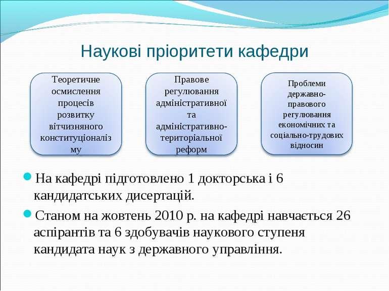 Наукові пріоритети кафедри На кафедрі підготовлено 1 докторська і 6 кандидатс...