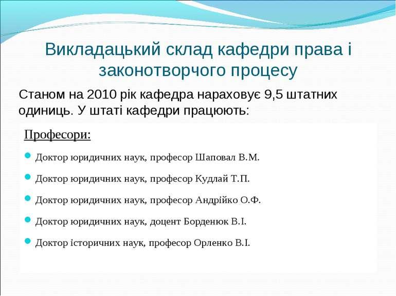 Викладацький склад кафедри права і законотворчого процесу Професори: Доктор ю...
