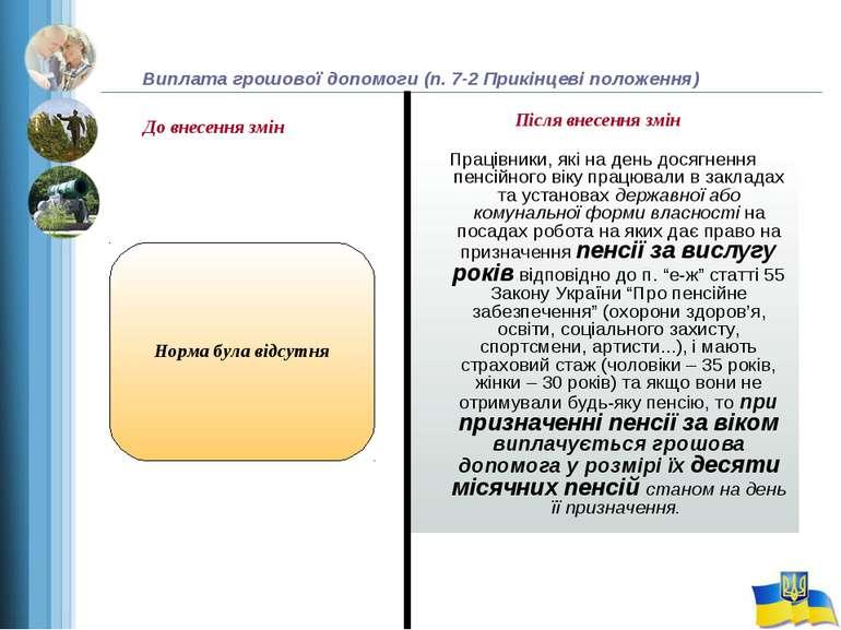 Виплата грошової допомоги (п. 7-2 Прикінцеві положення) Працівники, які на де...
