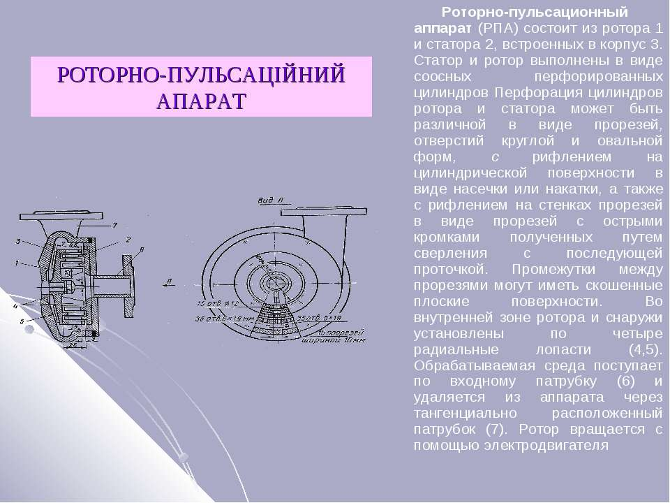 РОТОРНО-ПУЛЬСАЦІЙНИЙ АПАРАТ Роторно-пульсационный аппарат (РПА) состоит из ро...
