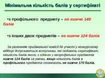 Мінімальна кількість балів у сертифікаті з профільного предмету – не нижче 14...