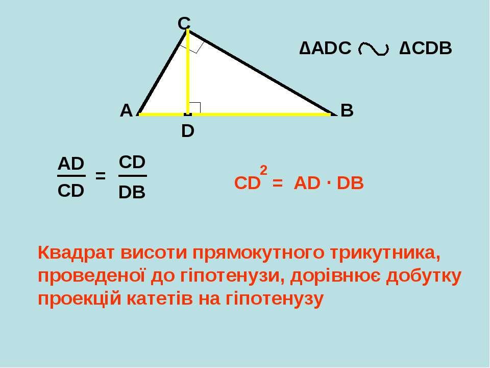 A B C D ∆АDС ∆CDB AD CD = CD = AD ∙ DB 2 Квадрат висоти прямокутного трикутни...