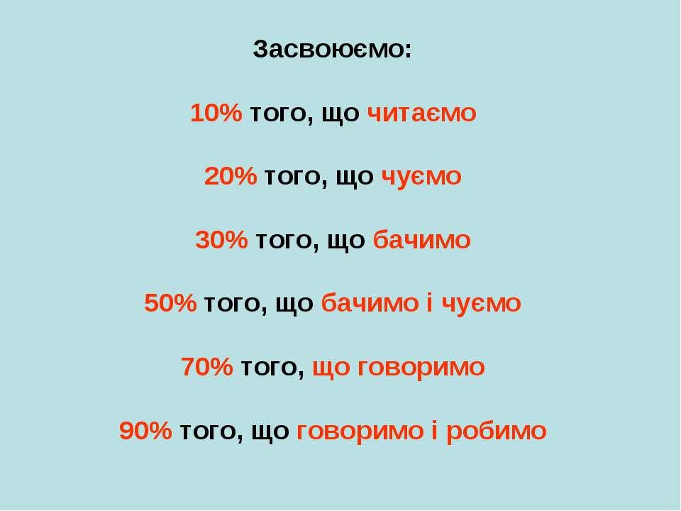 Засвоюємо: 10% того, що читаємо 20% того, що чуємо 30% того, що бачимо 50% то...