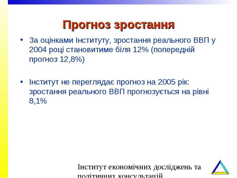 Прогноз зростання За оцінками Інституту, зростання реального ВВП у 2004 році ...