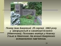 Помер Іван Багряний 25 серпня 1963 року у Шварцвальді в санаторії Блазієн (Ні...