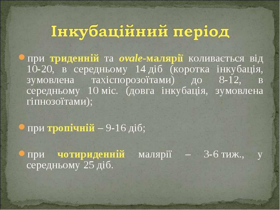 при триденній та ovale-малярії коливається від 10-20, в середньому 14діб (ко...
