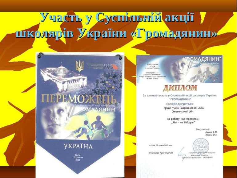 Участь у Суспільній акції школярів України «Громадянин»