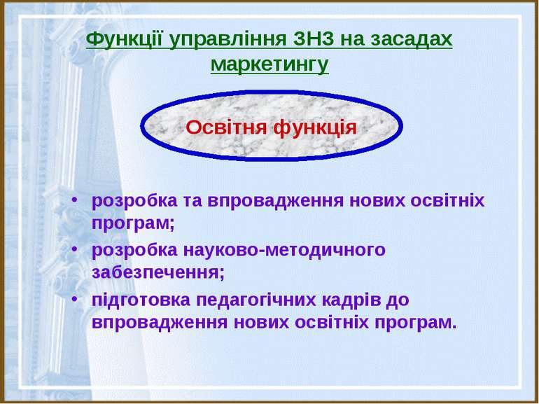 Функції управління ЗНЗ на засадах маркетингу розробка та впровадження нових о...