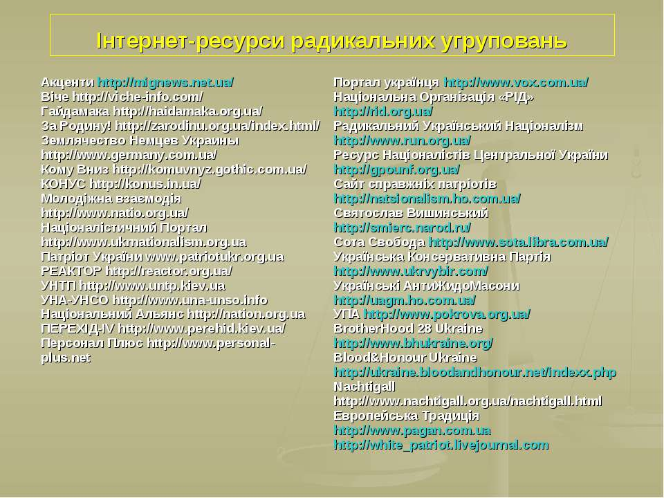 Інтернет-ресурси радикальних угруповань Акценти http://mignews.net.ua/ Віче h...