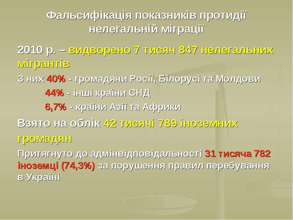 Фальсифікація показників протидії нелегальній міграції 2010 р. – видворено 7 ...