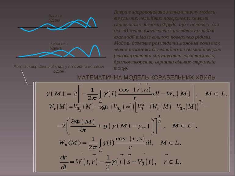 МАТЕМАТИЧНА МОДЕЛЬ КОРАБЕЛЬНИХ ХВИЛЬ Вперше запропоновано математичну модель ...