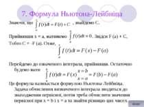 7. Формула Ньютона-Лейбніца Знаючи, що , знайдемо С. Прийнявши х = а, матимем...