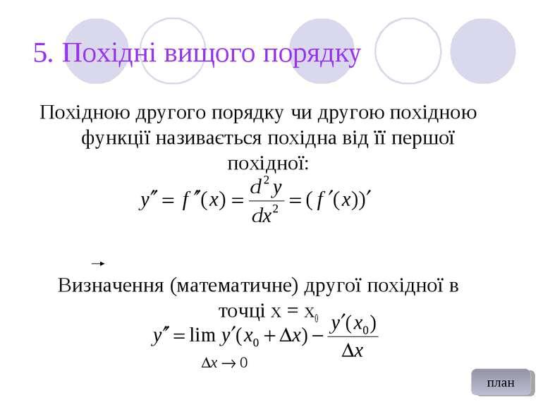 5. Похідні вищого порядку Похідною другого порядку чи другою похідною функції...