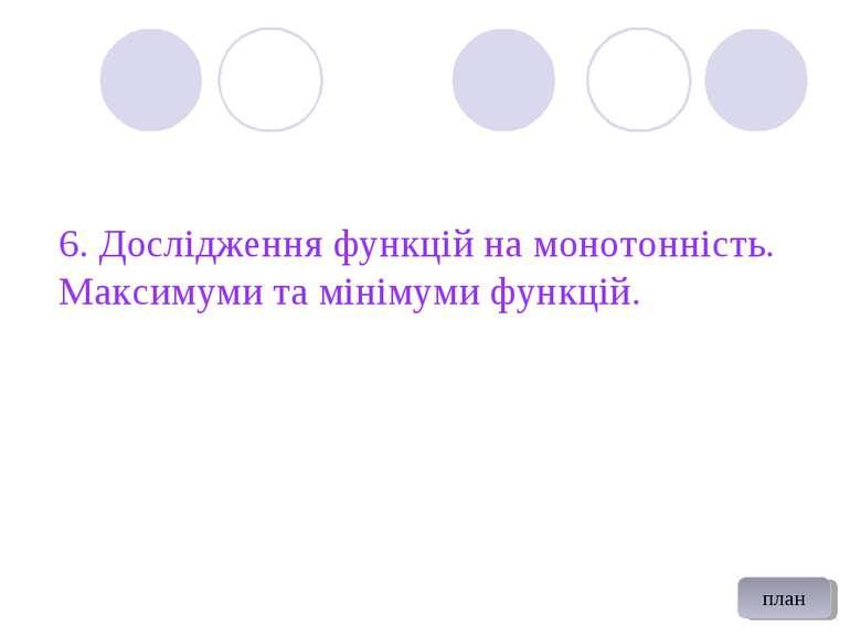 6. Дослідження функцій на монотонність. Максимуми та мінімуми функцій. план