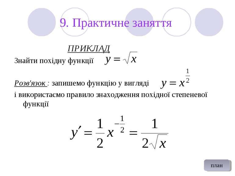 9. Практичне заняття ПРИКЛАД Знайти похідну функції Розв'язок : запишемо функ...