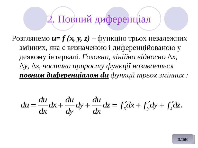 2. Повний диференціал Розглянемо u= f (x, y, z) – функцію трьох незалежних зм...