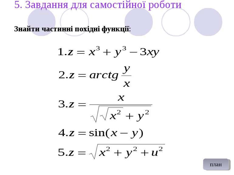 5. Завдання для самостійної роботи Знайти частинні похідні функції: план