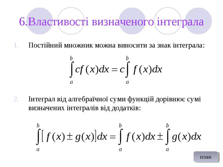 6.Властивості визначеного інтеграла Постійний множник можна виносити за знак ...