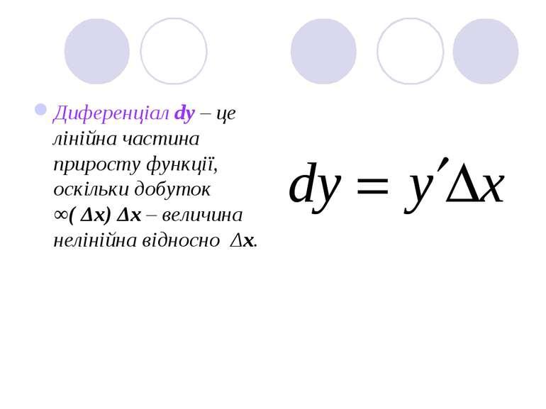 Диференціал dy – це лінійна частина приросту функції, оскільки добуток ∞( Δх)...